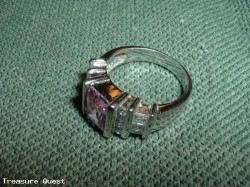 .925 Silver Ring with Pink and White stones, size 7